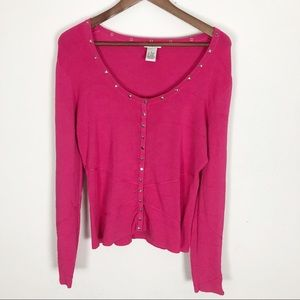 Cache long sleeve hot pink top